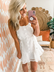 White Swiss Dot Strappy Dress