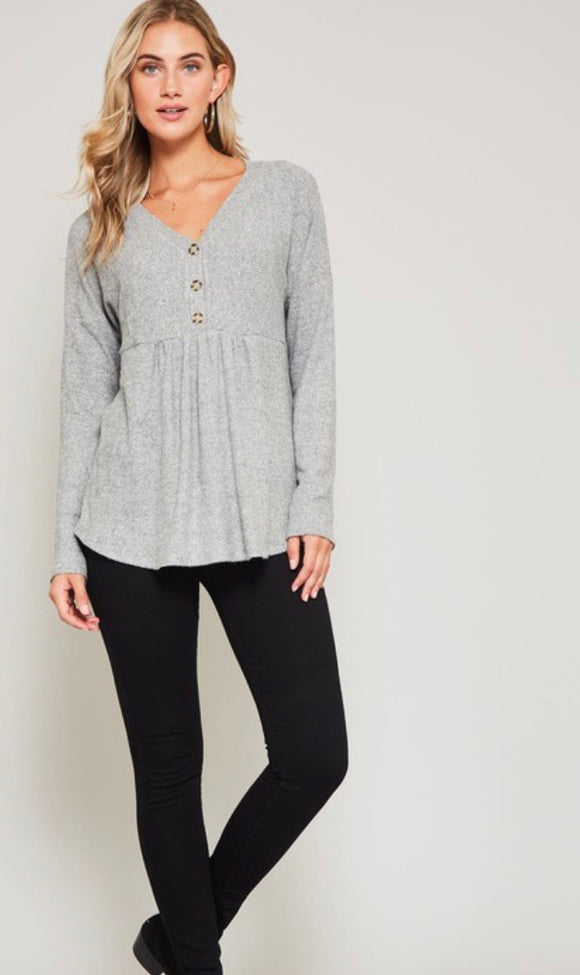 Grey Button Detail Babydoll Top