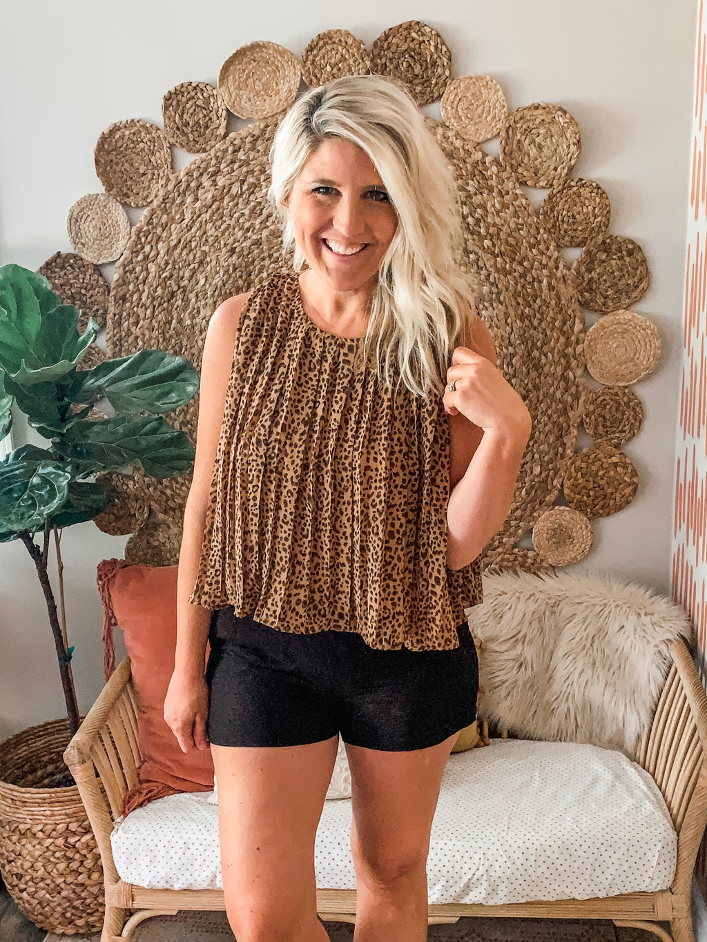 Camel Leopard Print Pleated Top