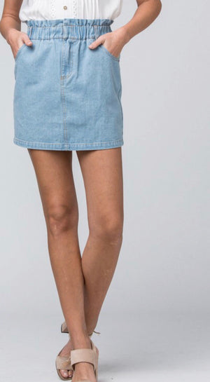Light Denim Cinched Waist Skirt