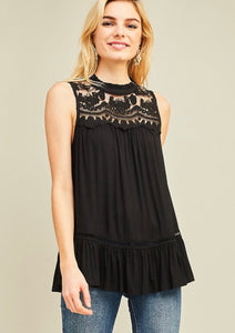 Black Lace Mock Neck Tank