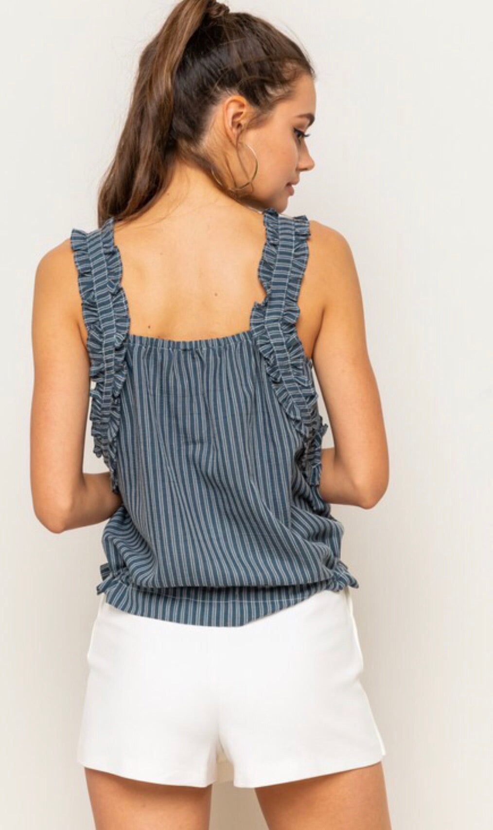 Striped Ruffle Straps Cinched Top