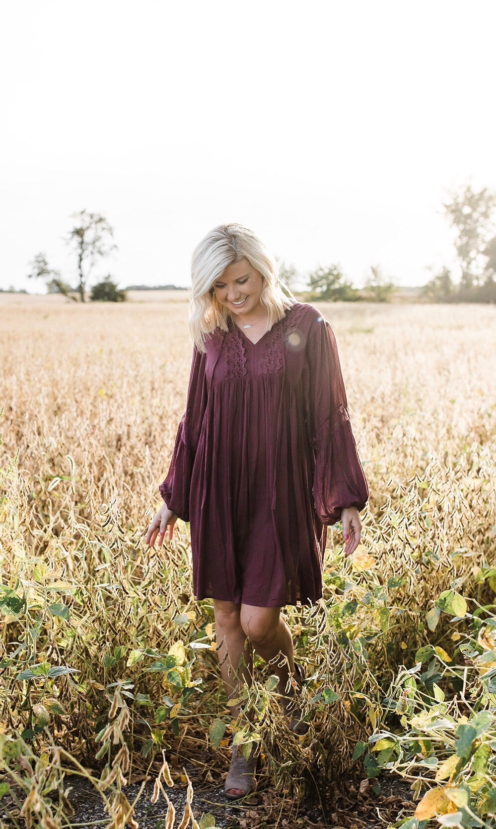 Burgundy Boho Lace Detailed Dress