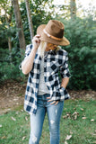 Navy Plaid Rolled Sleeve Button Up