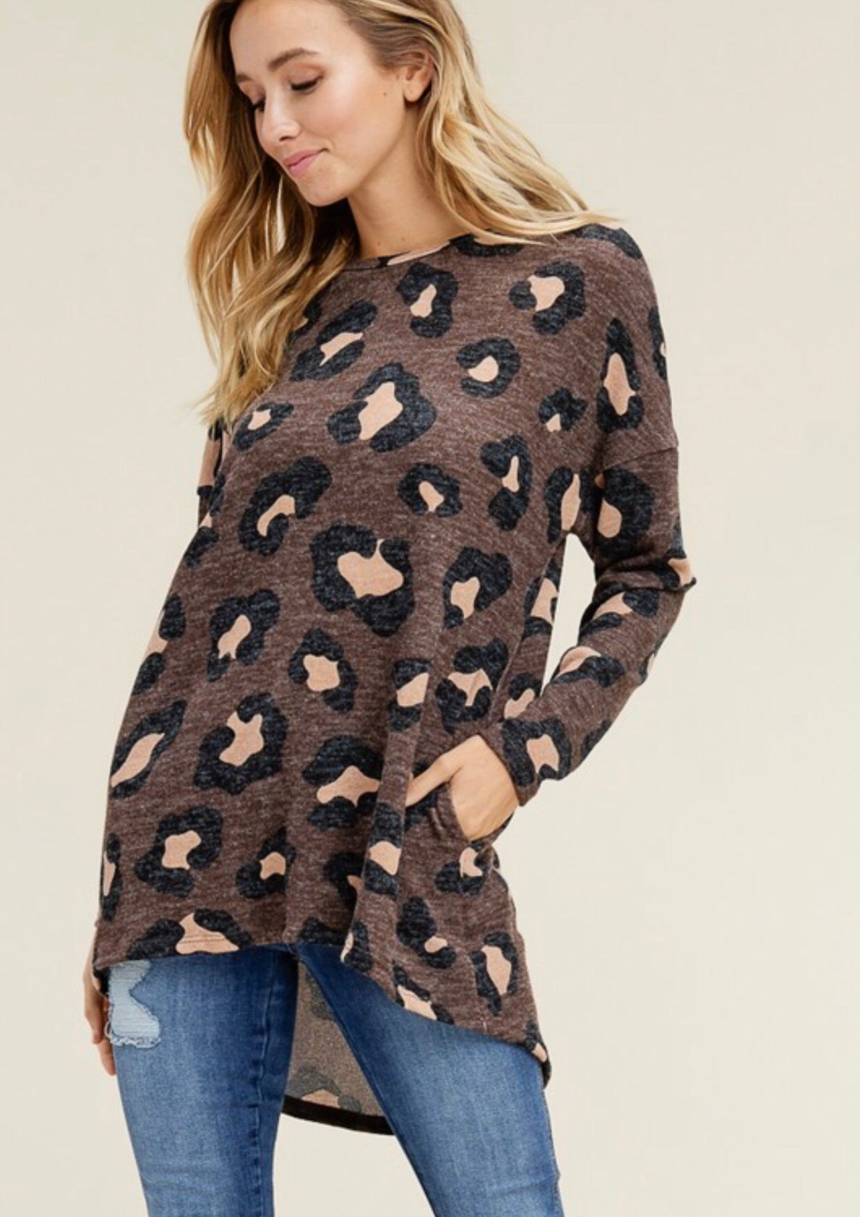 Mocha Leopard Print High Low Tunic