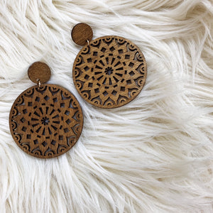 Wooden Circular Dangle Earrings