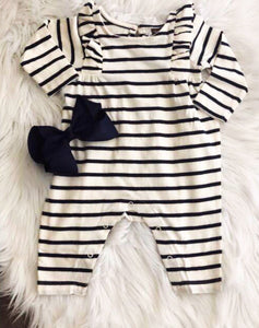 TEA Collection Striped Ruffle Long Sleeve Romper