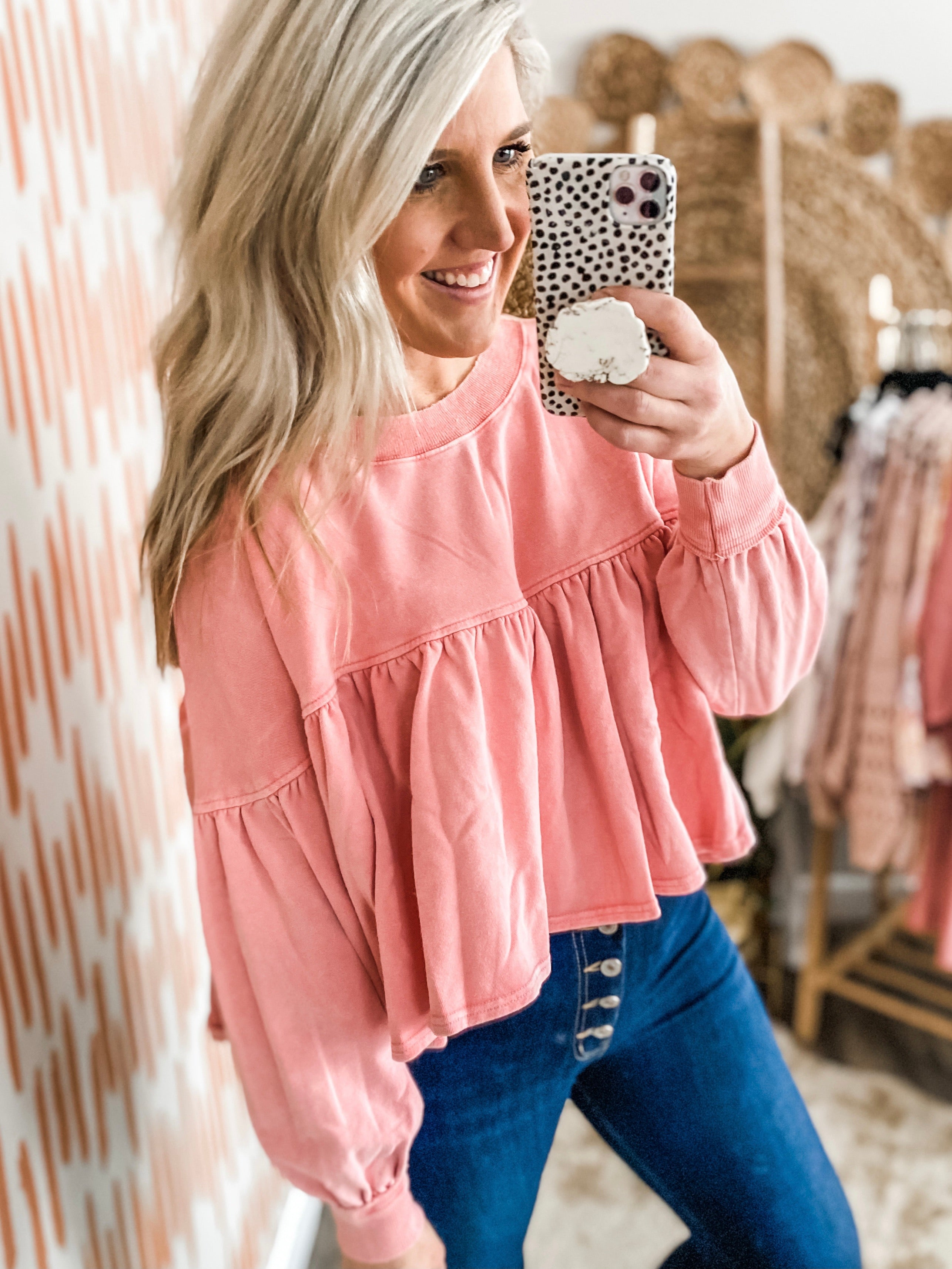 Dusty Faded Coral Cropped Peplum Sweatshirt