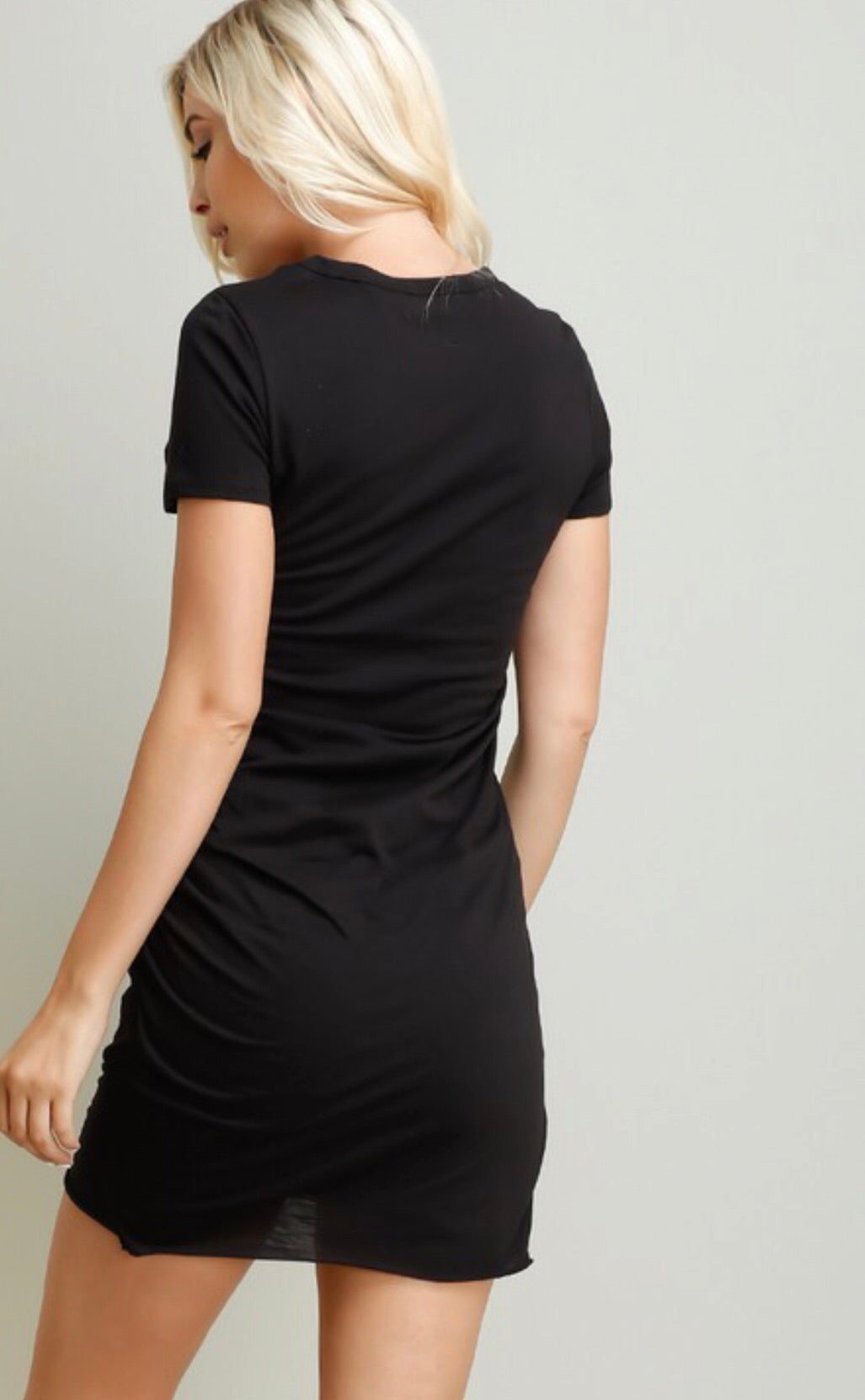 Black Fitted Ruched Side Dress