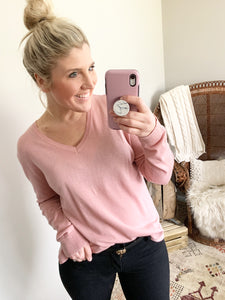 Rose Basic V Neck Lightweight Sweater