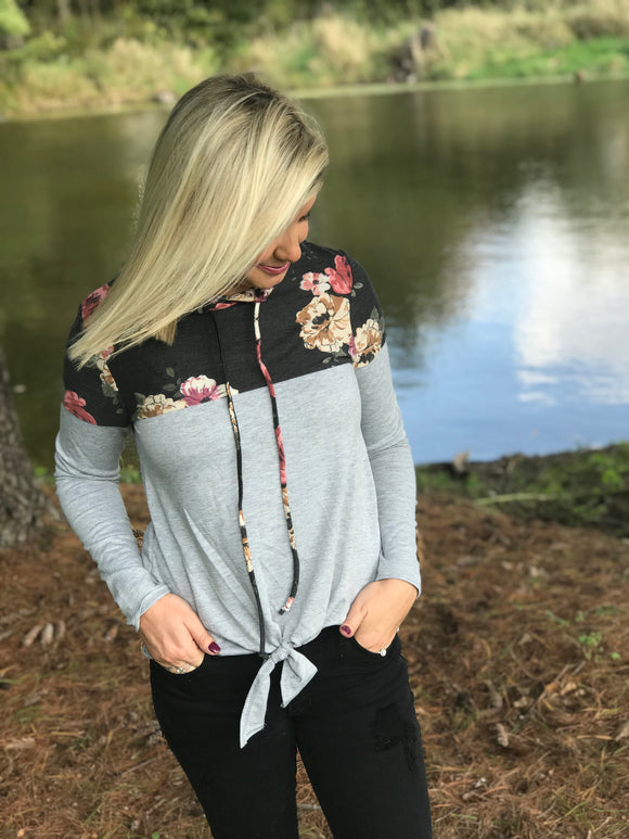 Floral Colorblock Knotted Hoodie