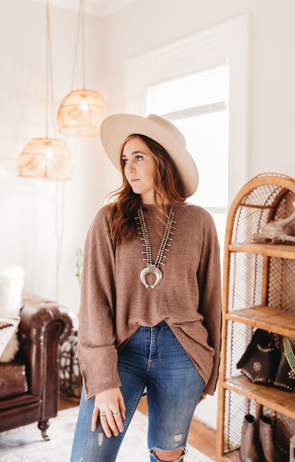 """Rolling Stone"" Cocoa Oversized Tunic Top"