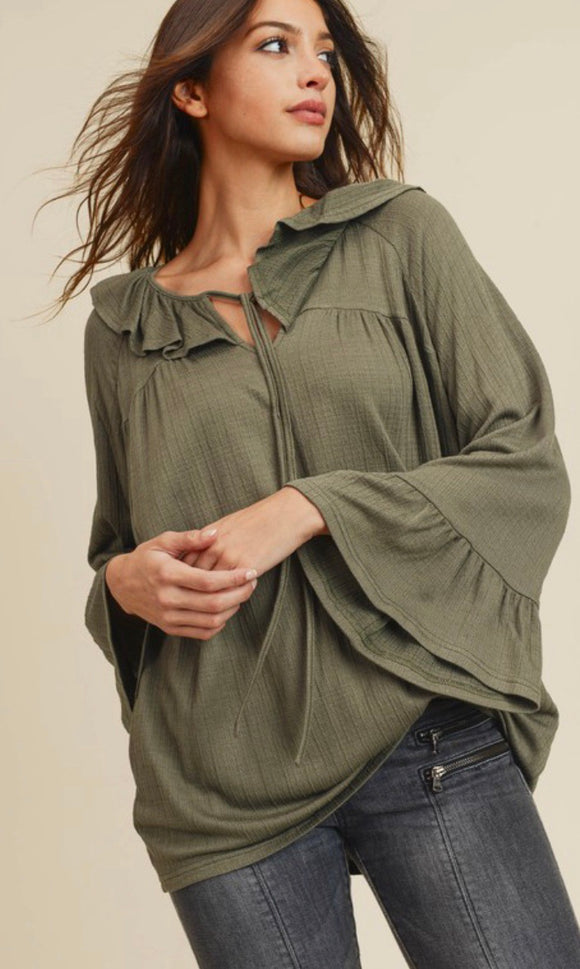Olive Ruffle Tie Knot Top