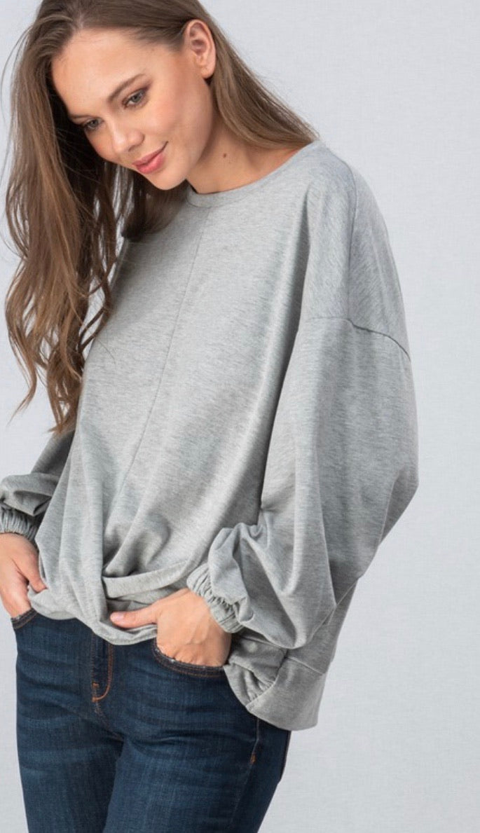 Grey Front Knot Top