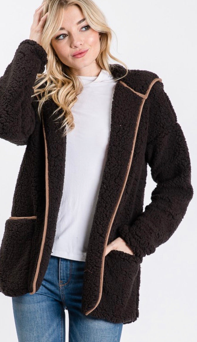 Black Fuzzy Open Cardigan Jacket