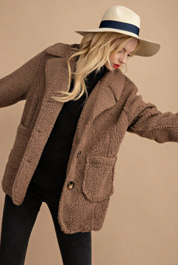 Mocha Fuzzy Teddy Bear Jacket