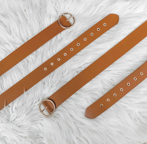 Cognac Faux Leather Gold Detail Belt