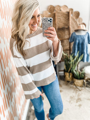Beige Striped Ribbed Roll Sleeve Top