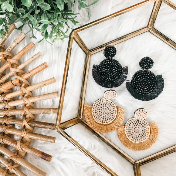 Beaded Circular Fringe Statement Earrings