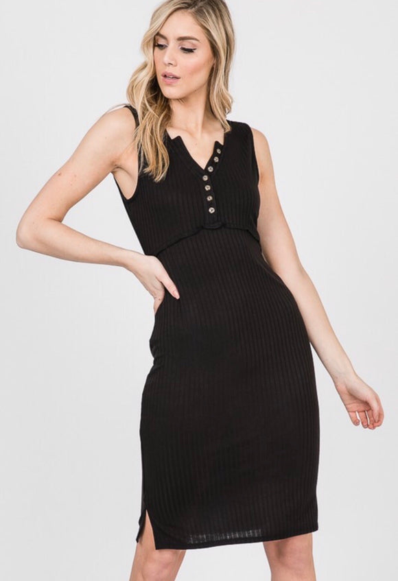 Black Button Ribbed Dress