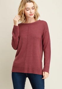 Dark Rose Ribbed Side Sweater