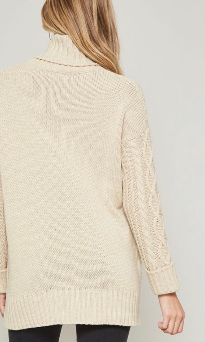 Ivory Cableknit Cowl-Neck Pocket Sweater