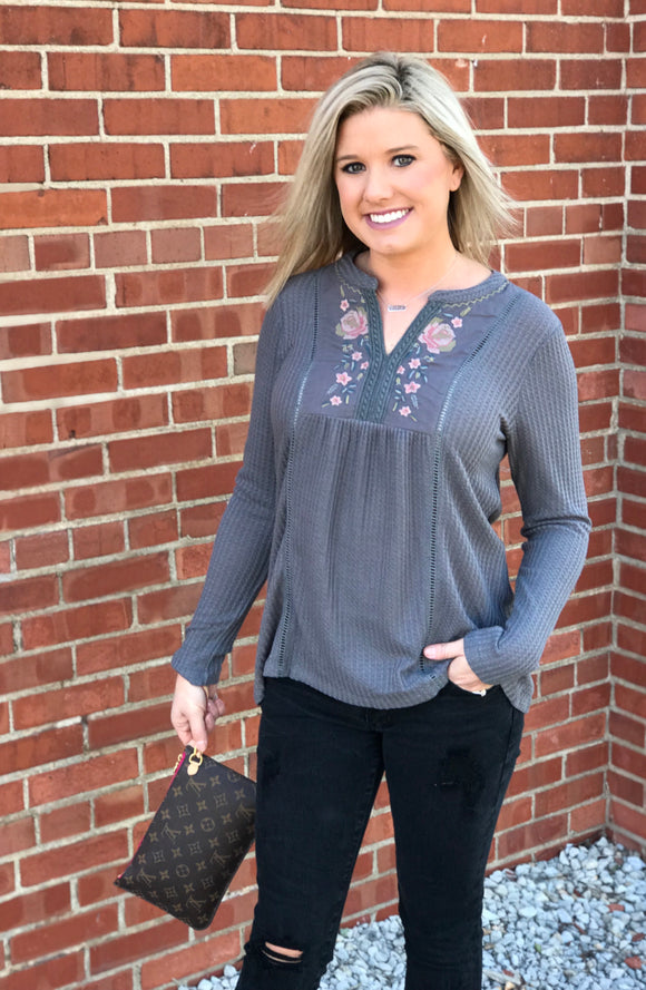 Grey Embroidered Thermal Top