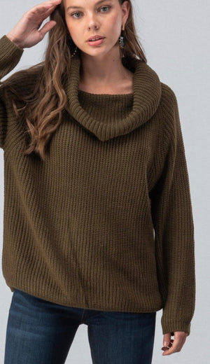 Olive Cowl Neck Chunky Knit Sweater