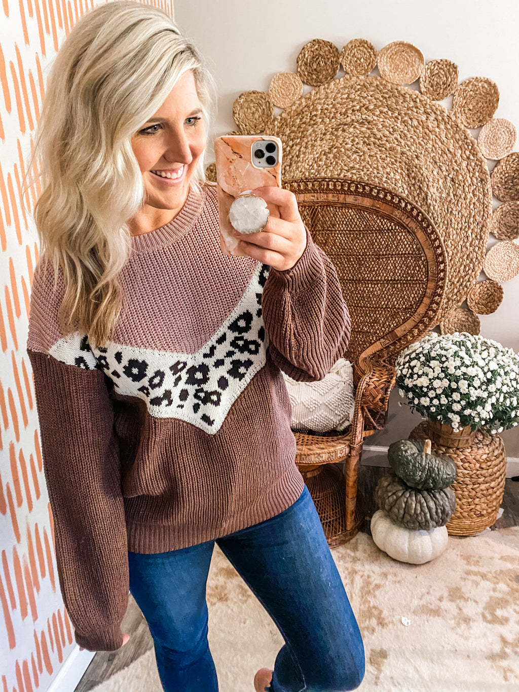 Mauve & Cocoa Colorblock Leopard Sweater