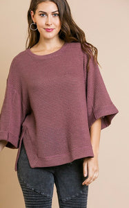 Berry Waffleknit Rolled Sleeve Top