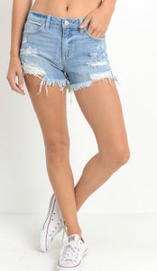 Lightwash Distressed Denim Shorts