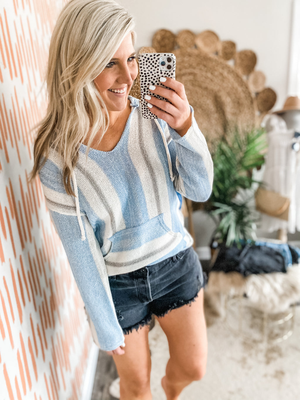 Blue Striped Front Pocket Pullover