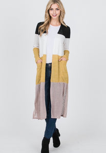 Mustard Colorblock Cardigan