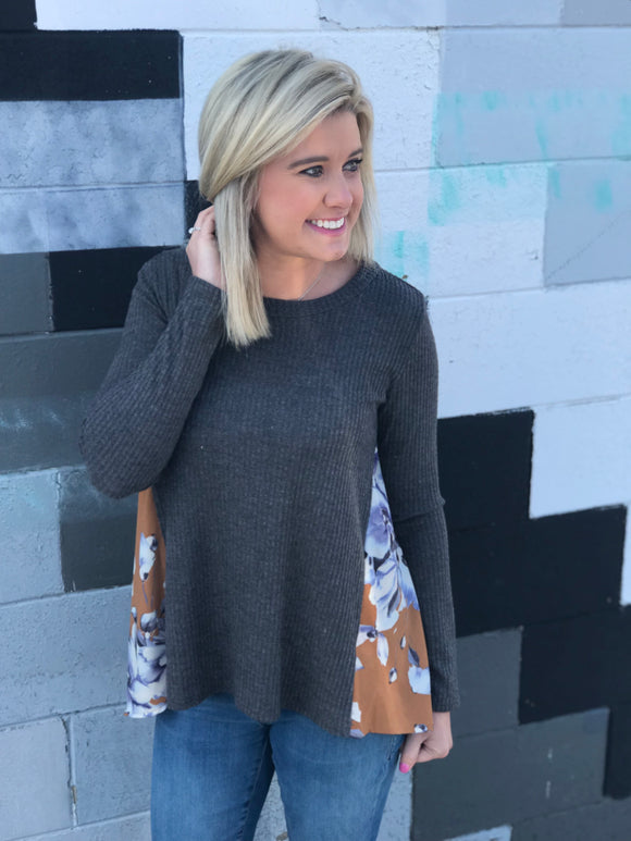Charcoal Floral Waffle Knit