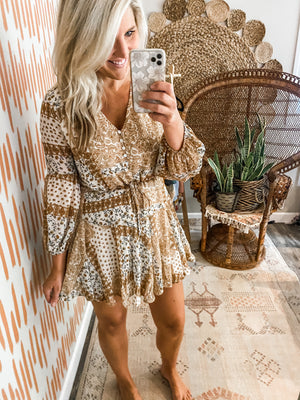 Boho Paisley Tie Waist Dress