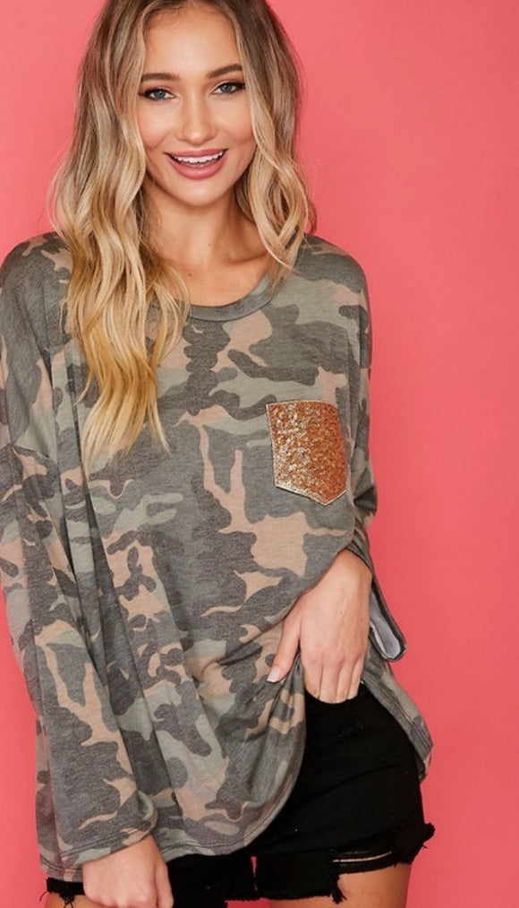 Camo Gold Glitz Pocket Top