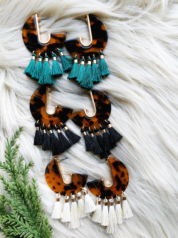 Tortoise Shell Tassel Earrings