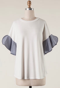 Gingham Sleeve Ivory Top