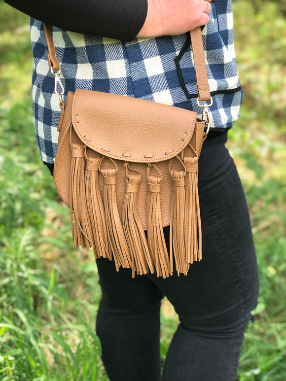 Tan Tassel Cross Body Bag