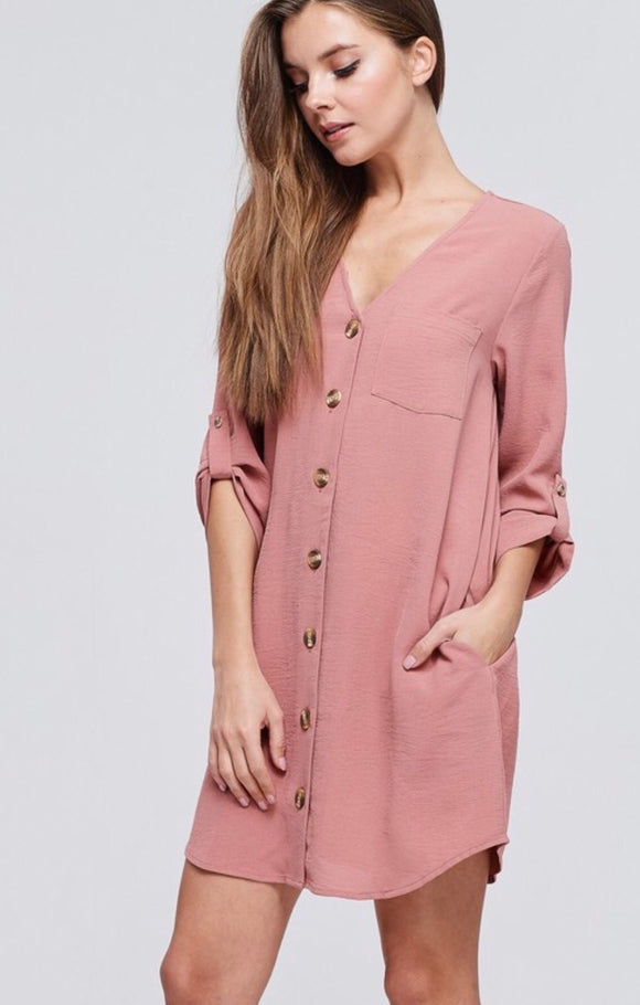 Mauve Button Detail Tunic Dress