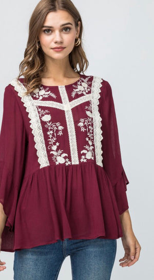 Burgundy Embroidered & Lace Detail Top