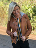 Faux Camel Leather Jacket (detachable hood)