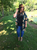 Extended Sizing:: Teal Floral Kimono