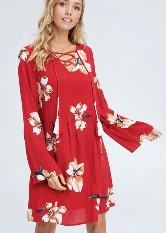 Red Floral Bellsleeve Dress