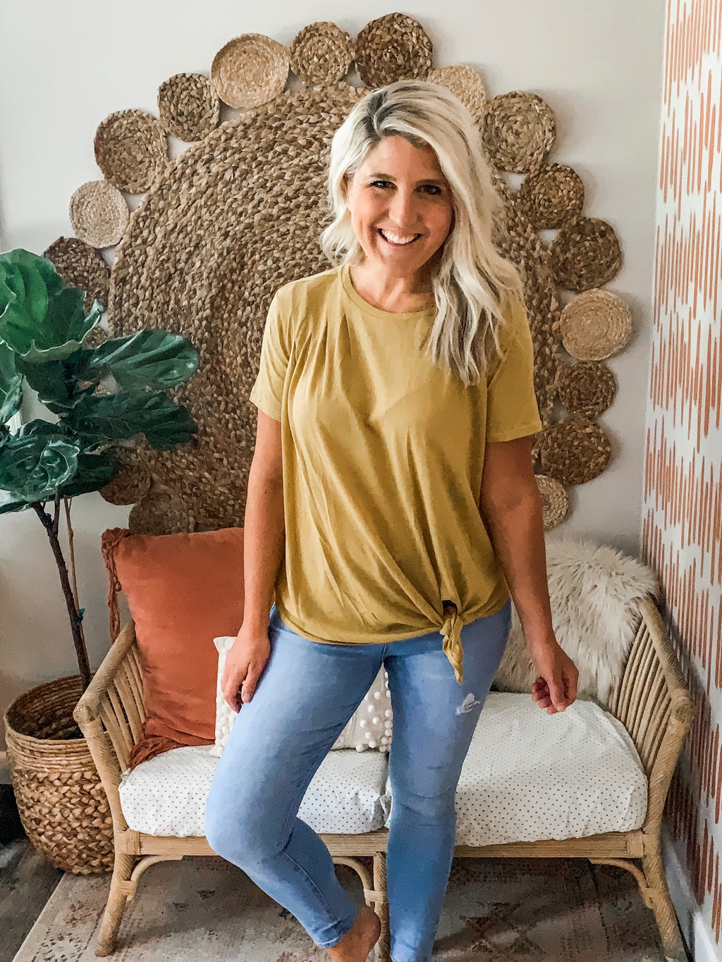Golden Yellow Knotted Tee