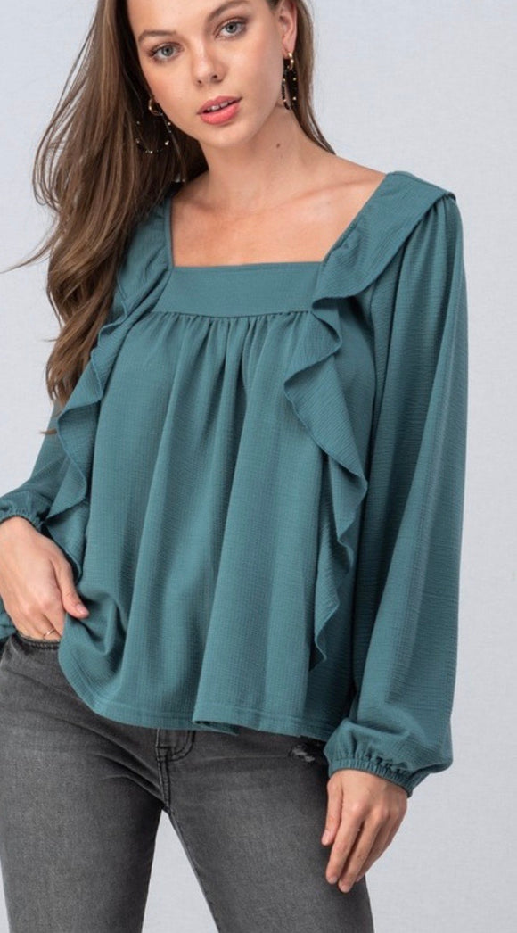 Emerald Ruffle Sleeve Knit Blouse