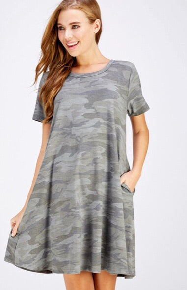 Camo Pocket Shift Dress