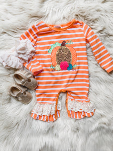 Pumpkin Striped & Crochet Detail Romper
