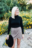 Taupe Faux Suede Skort