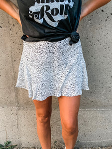 White Dotted Ruffle Skirt